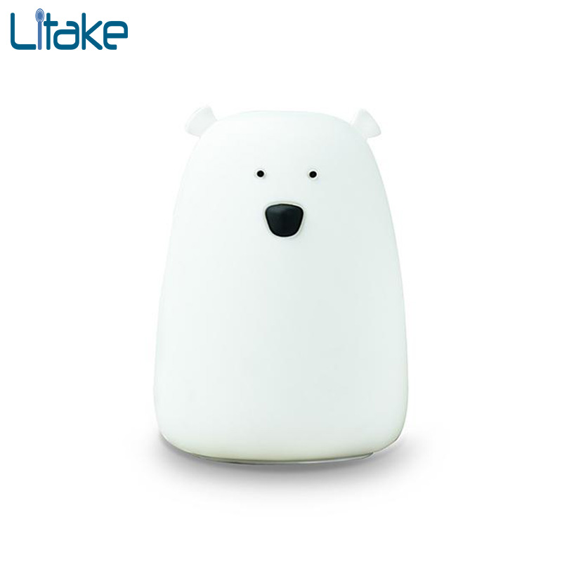Litake LED Night Light Colorful Little Bear Silicone 7 Colors Touch Sensor lights Children Cute Night Lamp Bedroom Light colorful waterdrop cartoon ombre led night light