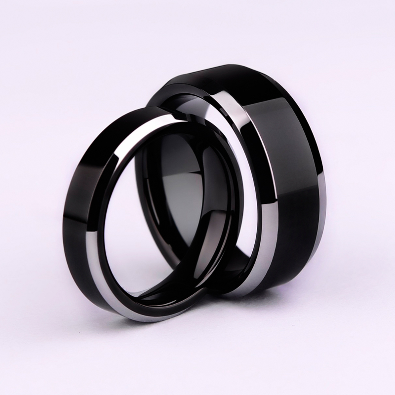 Simple Smooth Black/3colors Titanium Ring For Men Wedding Rings for women(China)