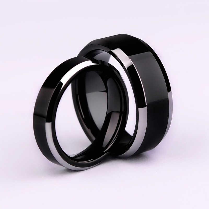 Đơn giản Mượt Đen/3 màu sắc Titanium Ring Cho Người Đàn Ông Nhẫn Cưới cho phụ nữ