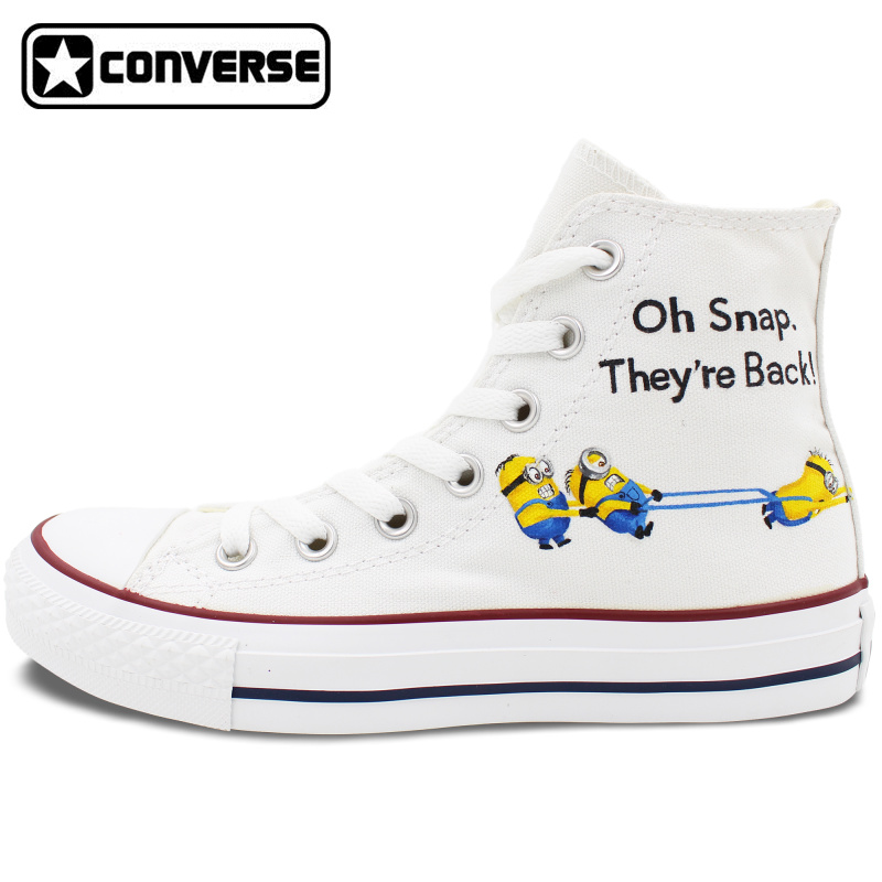 White Original Converse All Star Despicable Me Minions Design Hand Painted font b Shoes b font