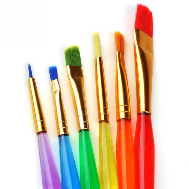 6 Colorful Tip artificial fiber Child Paint Brushes Nail Brush Art ...