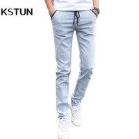 Mens Denim Jeans Men Drawstring Slim Fit Denim Joggers Men Stretch Pockets Jean Pencil Pants Casual
