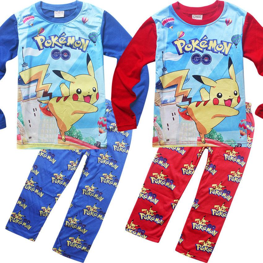 2017 Pokemon Go   Pajamas     Set   Kids Pijamas for Girls Boys Sleepwear Children's Nightwear Pikachu Tracksuit Pokemon Game Costume