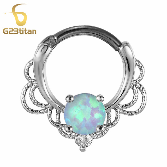 G23titan Rose Gold Color Opal Rings for Piercing Septum Earring Ear Tunnel 16G Titanium Pole Natural Opal Stone Septum Clicker