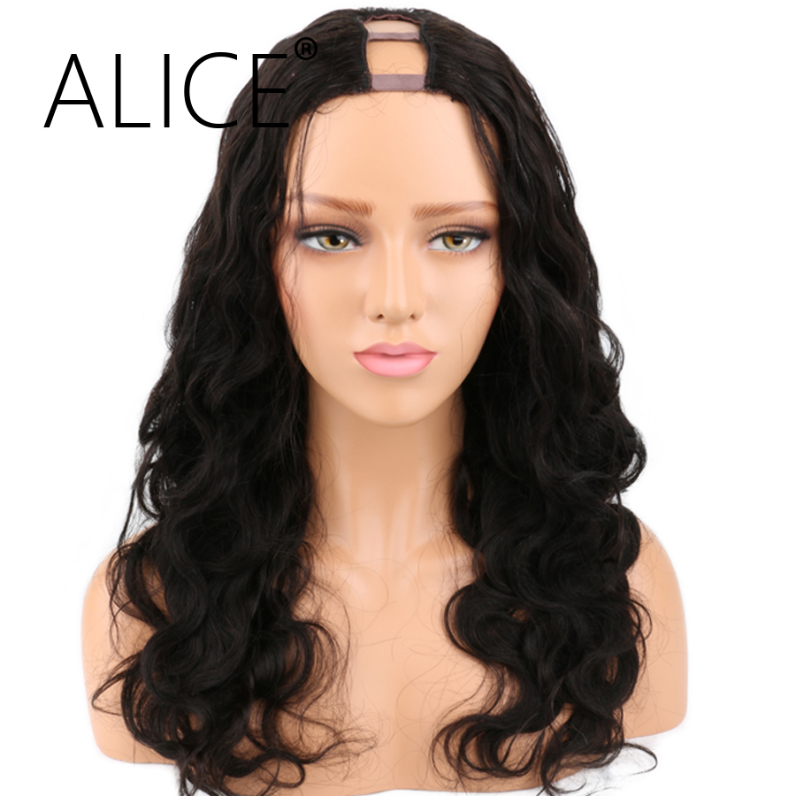 "ALICE Density 250 U Part Wig Natural Color Body Wave Brazilian Remy Human Hair Wigs for Black Women Opening Space 1*4"" or 2*4"""