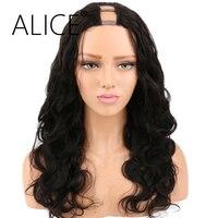 ALICE Yoğunluk 250 U Parçası Peruk Doğal Renk Vücut Dalga Brezilyalı Tüm Kadınlar için Remy İnsan Saç Peruk Açılış Alanı 1*4