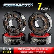 FreeSport roulements en céramique hybride noir, 7 perles, ABEC9 haute vitesse Rodamientos pour Skateboard, LongBoard, Skate en ligne, spinner, 608