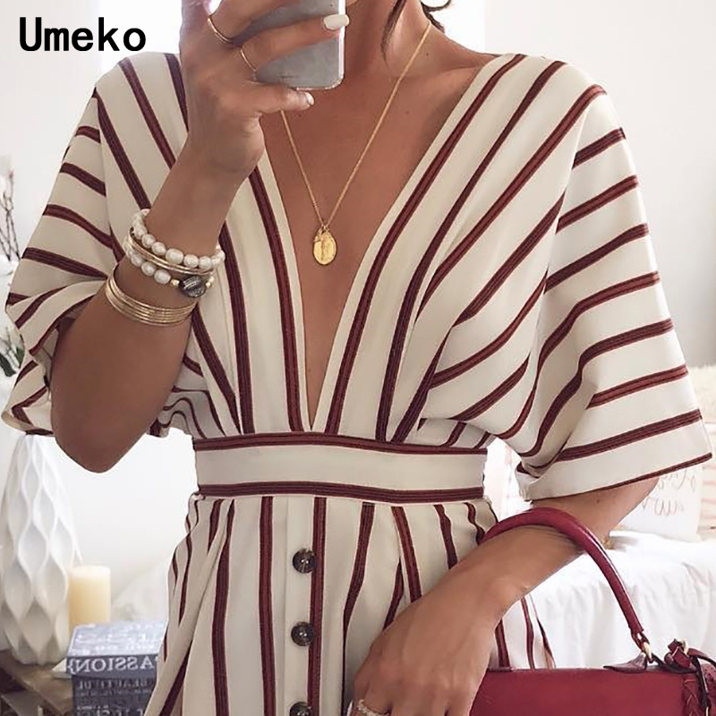 New Fashion 2019 Women Party Dress Night Club Deep V Neck Striped Batwing Sleeve Laides Casual Loose Mini Shirt Dresses 1