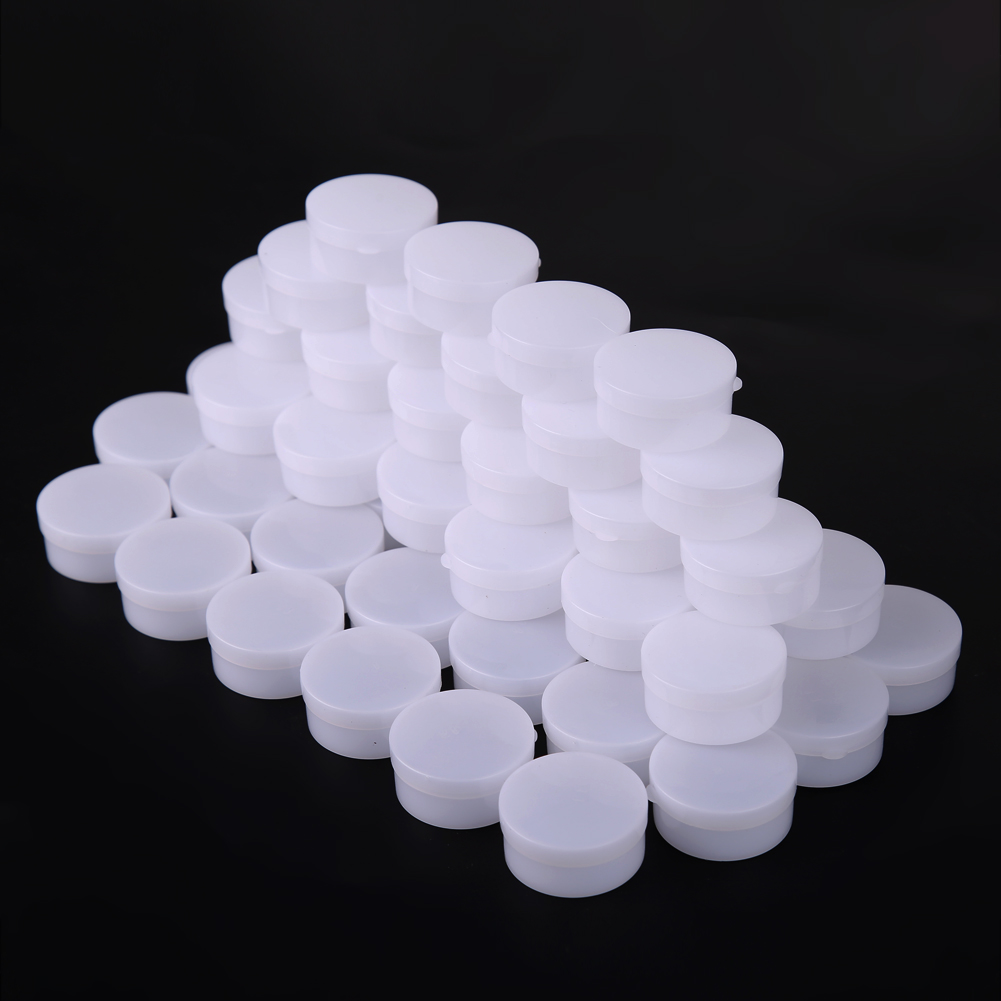 50pcs/pack Empty Cosmetic Jar Pot Eyeshadow Face Cream Container Box Refillable Sub-bottling Sample Boxes With Lidy Cream Bottle 50pcs 5g cosmetic empty jar pot eyeshadow makeup face cream container plastic bottle for creams skin care nail art beauty tool