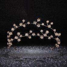 Золотые стразы, Звездные Свадебные повязки для волос, свадебные аксессуары для волос, ручная работа, кристальная повязка на голову, женские вечерние украшения, головной убор для девушек