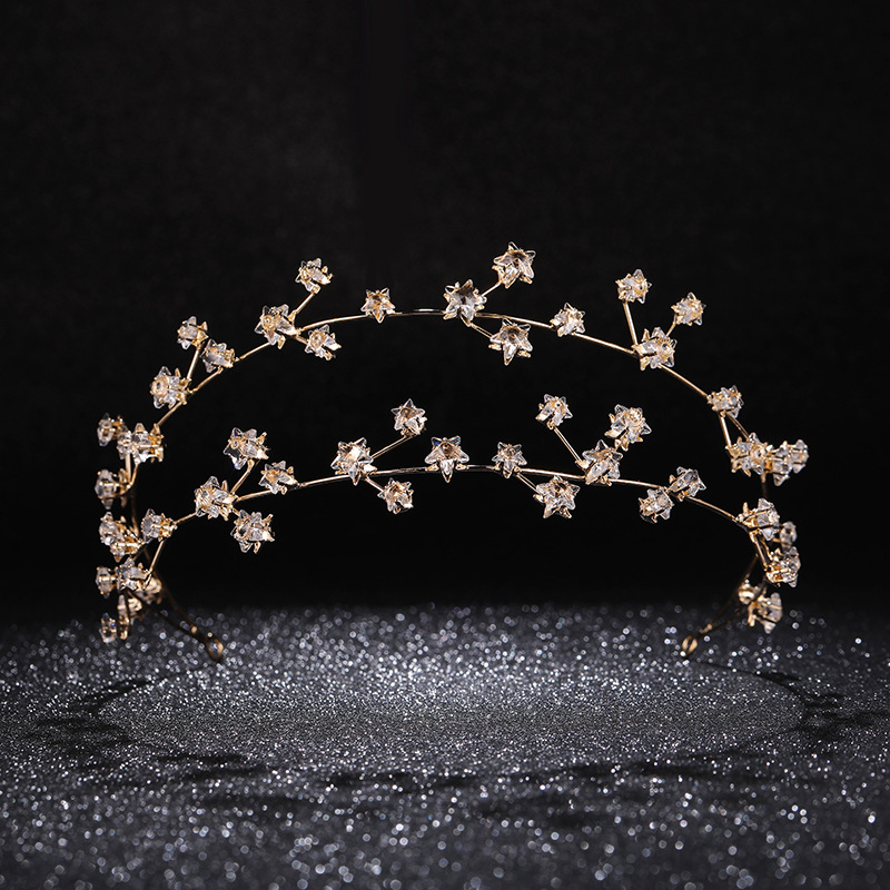 Gold Rhinestone Star Bridal Hairbands Wedding Hair Accessories Handmade Crystal Headband Women Party Jewelry Girl's Headpiece цены онлайн