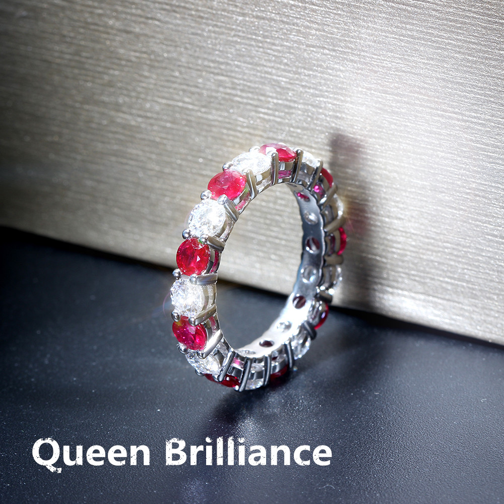 35mm F Color Lab Grown Moissanite Diamond Engagement Ring Wedding Band  With Natural Rubies Genuine