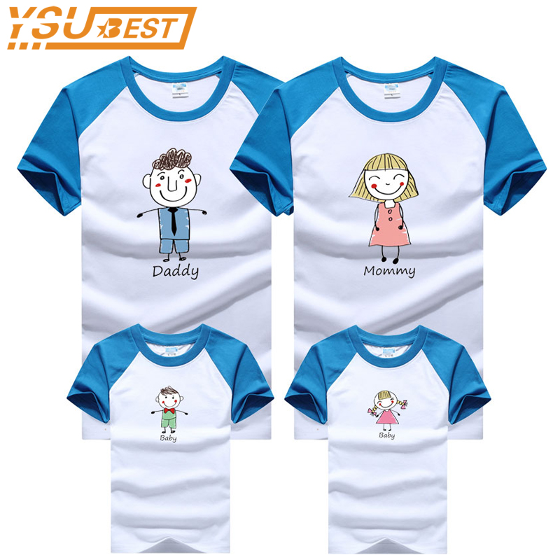 купить Family Look Summer Cartoon Style Family T shirts Quality Cotton Matching Clothes Mother and Daughter Clothes Father Son Clothes по цене 304.63 рублей