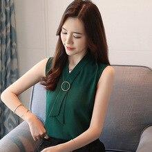 Fashionable Leisure Women Loose Sleeveless Sweet Summer Chiffon Shirts Blouses