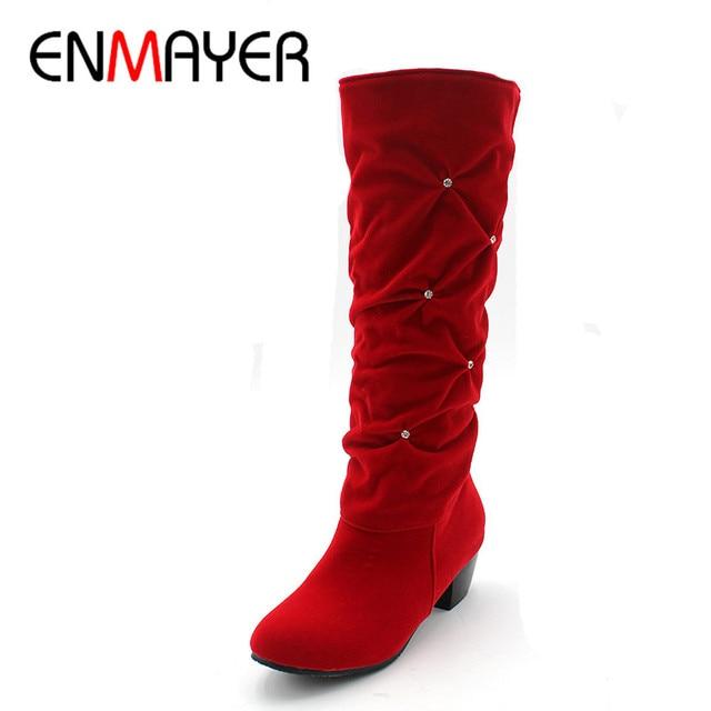 ENMAYER Black Blue Red New  Mid-Calf Women Boots  Med Platform Rhinestone Snow Boots Round Toe Platform Boots Big Size 34-43