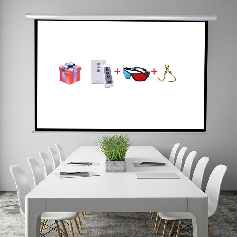 100'' 16:9 High Quality Electric Projection Screen pantalla proyeccion for LED LCD HD Movie Motorized Projector Screen 92 16 9 aluminum in ceiling recessed electric projector screen 4k ultra hd ready hdtv in ceiling electric projector screen