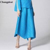 Changpleat 2019 New Women irregular Skirts Miyak Pleated Fashion design Solid Loose Large Size Elastic waist Female skirt Tide