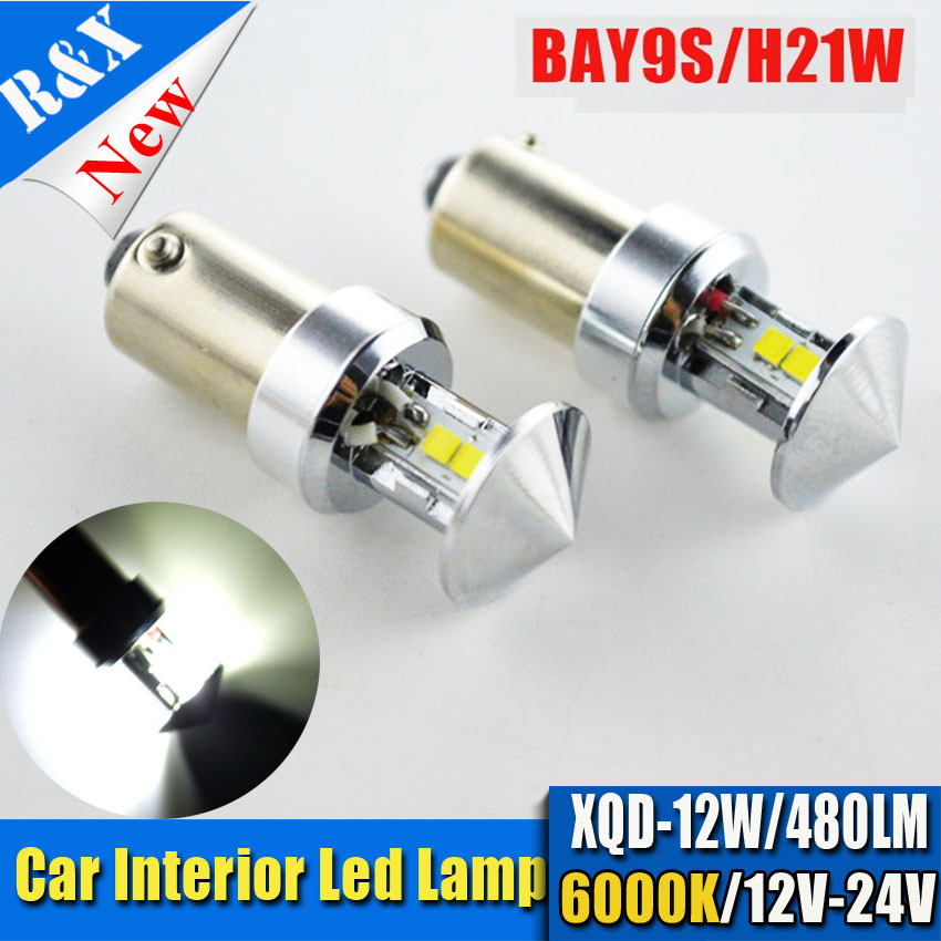 2x Super Bright H21W BAY9S 12W LED auto brake light car Backup Reverse Lights Rear Fog lamp Indicator Turn Corner Bulb white 12V