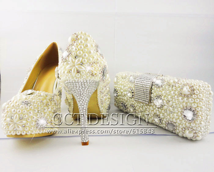 Zapatos Mujer Women Platforms Rhinestone High Heels Ivory White Wedding Shoes Italian With Matching Bags In Womens Pumps From On Aliexpress