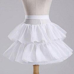 В наличии, белая короткая детская юбочка, Цветочная ярусная юбка для девочек, косплей, Лолита, юбка фатиновое платье Нижняя юбка для маленьк...