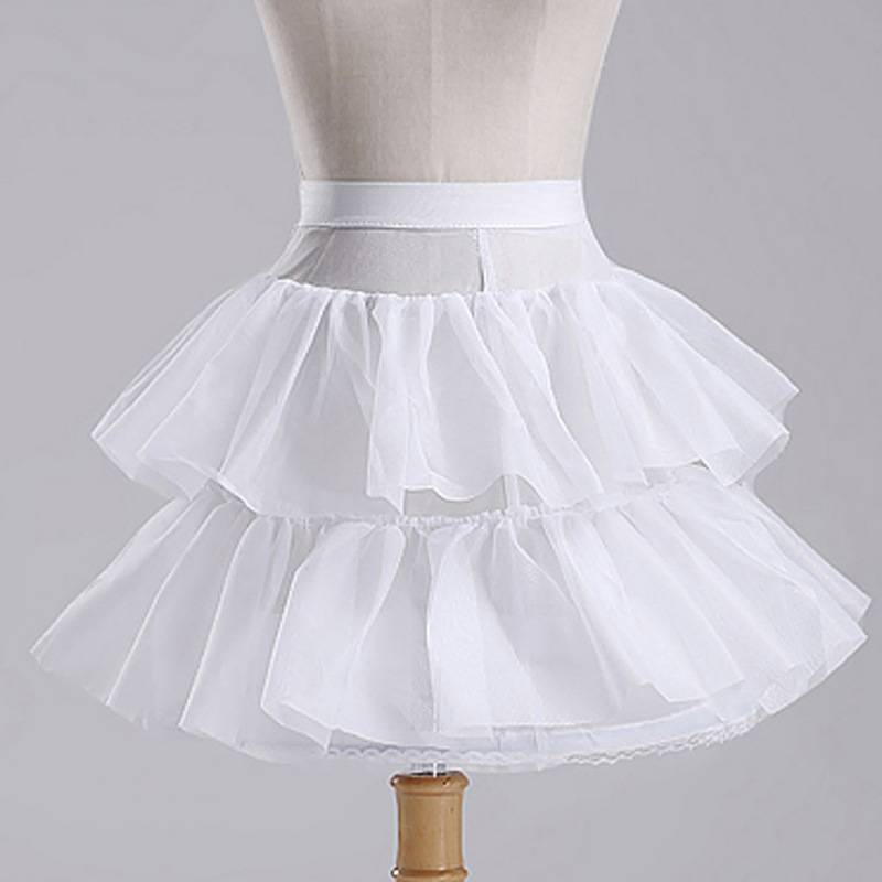 In Stock White Short Children's Petticoat Flower Girl Petticoat Cosplay Lolita Skirt Tulle Dress Little Baby Kids Underskirt