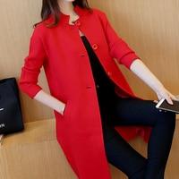 AI Yi Han 2016 new winter color tie in Korean collar long cardigan sweater coat