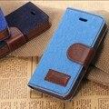 Protector de pantalla + vaquero jeans denim monedero cubierta del tirón de la pu funda de piel para iphone 5 5s 5g caja del teléfono móvil del sostenedor del soporte