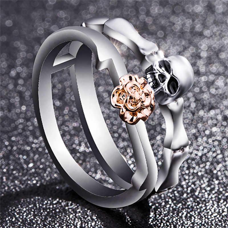 ย้อนยุค Gothic กะโหลกศีรษะแหวนเงินผู้หญิงเครื่องประดับเงินชุบเงินแท้ Cz คริสตัลแฟชั่นกุหลาบดอกไม้เครื่องประดับพังค์สไตล์รักของขวัญแหวน D3
