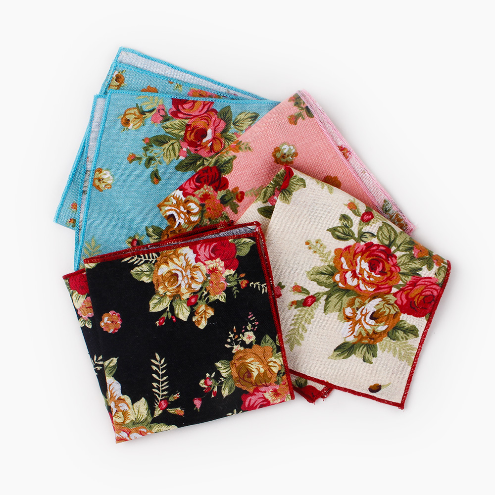 Mantieqingway Cotton Floral Printed Pocket Square For Mens Handkerchiefs Wedding Party Groom Suits Pocket Towel Casual Hanky