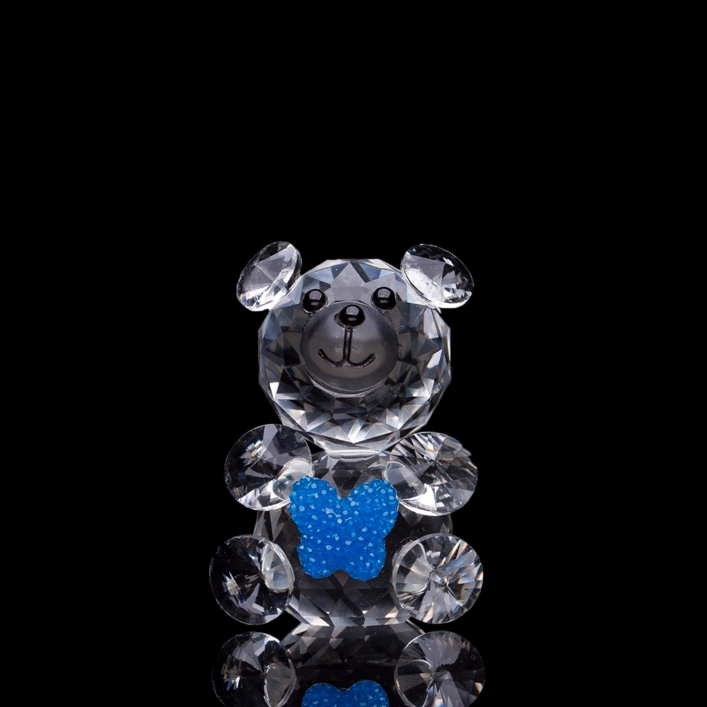 Miniature crystal ornaments - 1 Pc Cute Animal Miniature Crystal Glass Bear Figurines Ornaments Feng Shui Wedding Events Home Decor Craft Gift For Kids