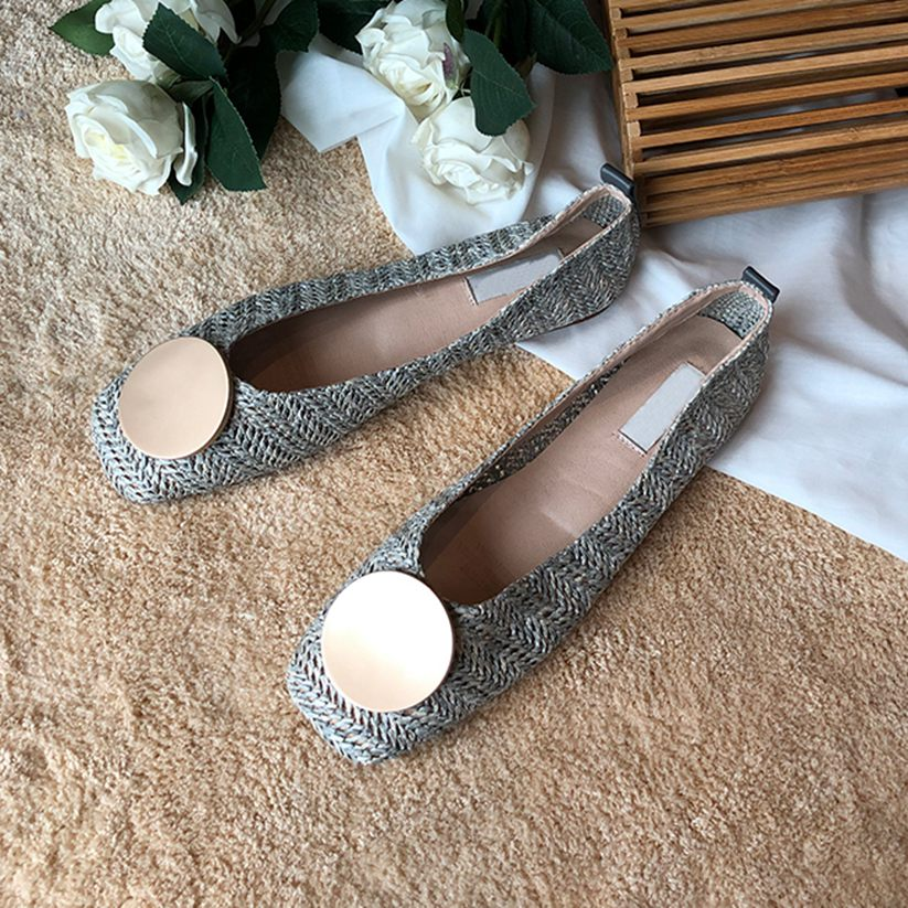 Women Summer Flats Casual Ballerina Shallow Slip On Square Heel Single Boat Shoes Breathable Soft Loafers Flats in Women 39 s Flats from Shoes