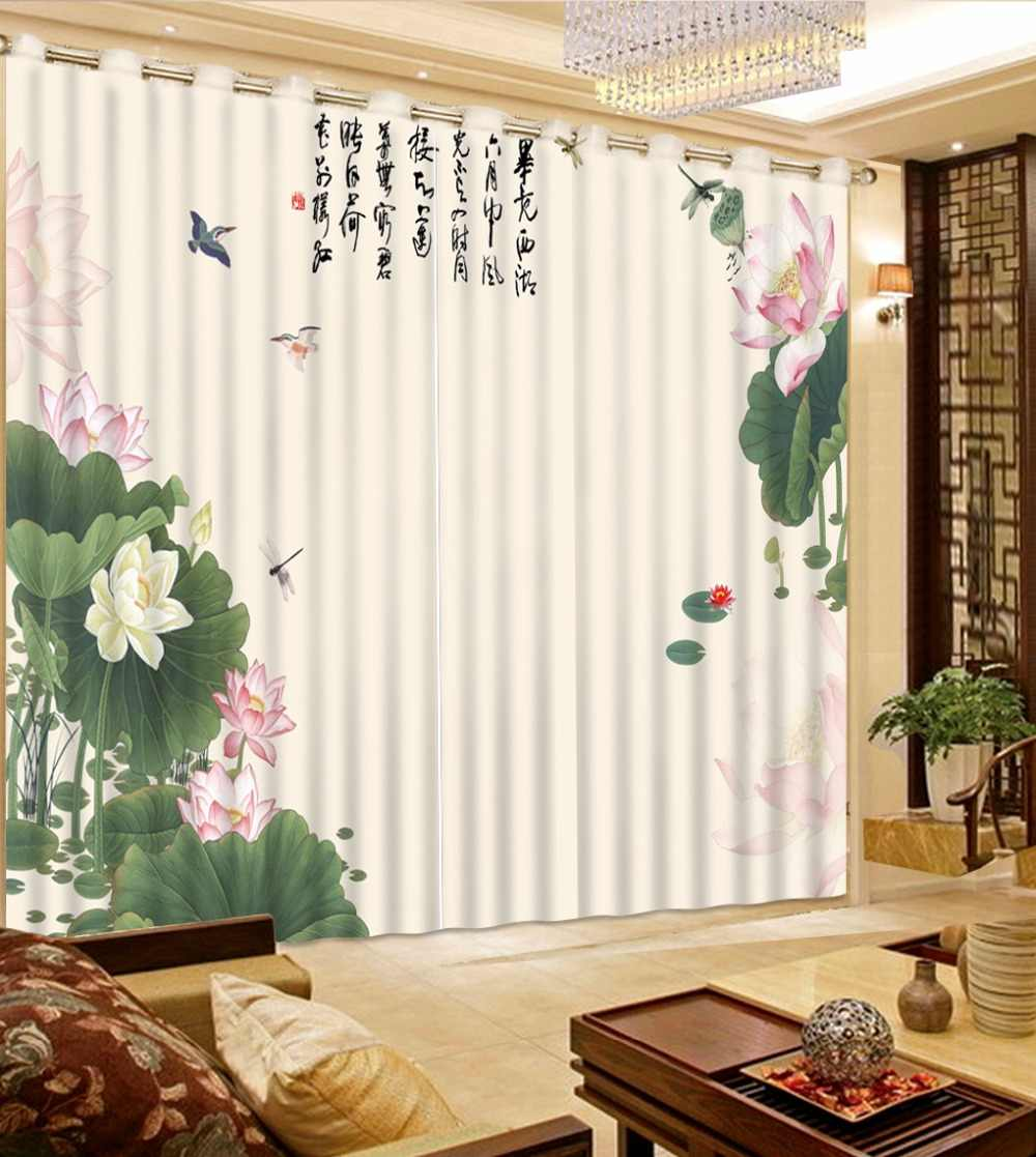 Chinese curtains embroidery Ink painting soundproof curtains for Living room study curtains