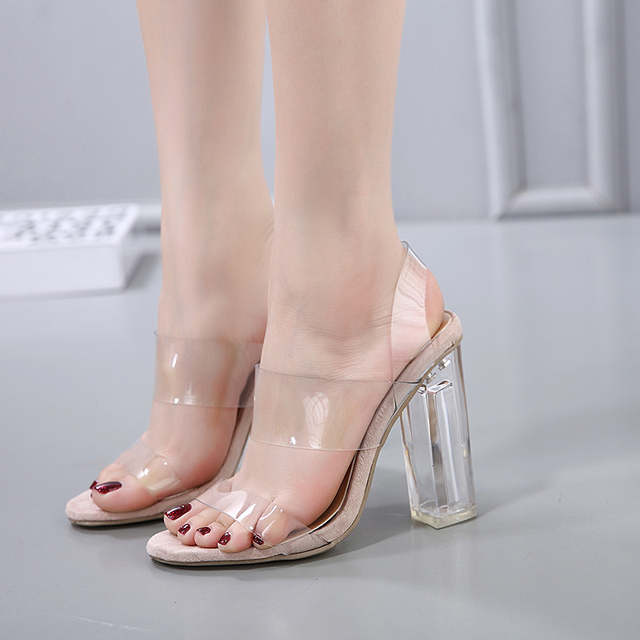 73f600e47d06 DiJiGirls Woman Sandals Clear Heels Transparent shoes female Crystal sandal  High Heels Open Toe Thick Heel