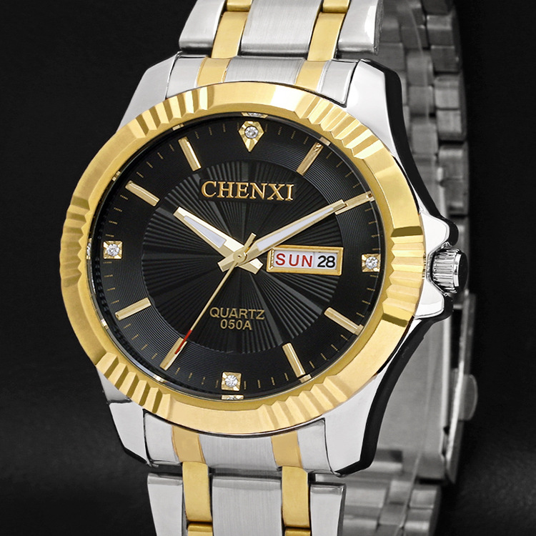 2018 CHENXI Gold Watch calendar Men Luxury Business Man Watch Golden Waterproof Fashion Casual Quartz Male Dress Clock Gift luxury men gold watch top brand antique unique style dress business man quartz watch gimto simple casual male golden clock