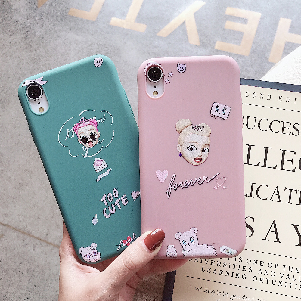 Funny Cartoon Couples Phone Case For <font><b>iphone</b></font> 7 <font><b>6</b></font> 6S 8 Plus Case For <font><b>iphone</b></font> X XS XR XS MAX <font><b>Cover</b></font> Fashion Thick Soft TPU Fundas image