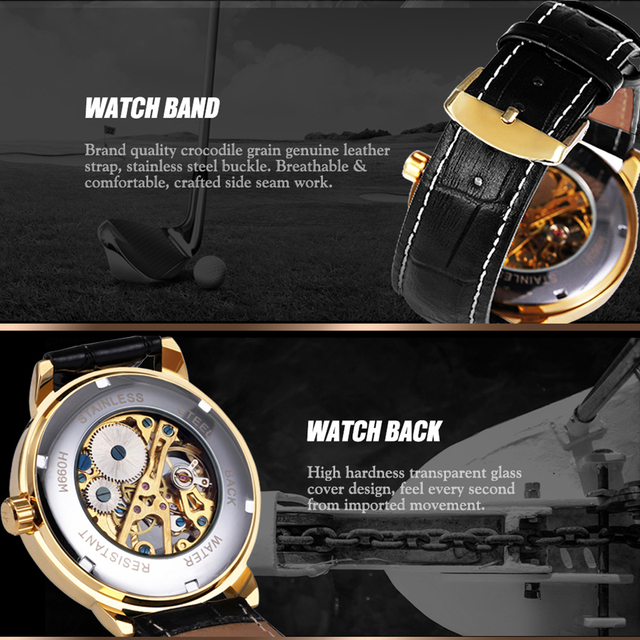 2018 FORSINING 3D Logo Black Gold Men Mechanical Watch Montre Homme Man Watches Top Brand Luxury Leather WINNER Skeleton Design 3