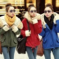 2016 Women Winter Coat Faux Fur Collar Overcoat Hooded Fleece Lined Army Green Military Outerwear Down Parkas Plus Size 111