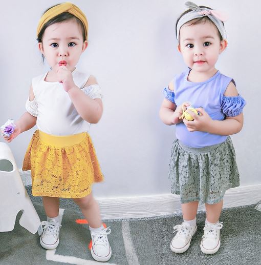 2018 Baby Girls Sweet Lace Cotton Shorts Skirts Kids Girl Cake Skirt - Children's Clothing