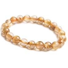 Genuine Natural Brazil Gold Rutilated Titanium Quartz Crystal Woman Man 9mm Gemstone Round Beads Bracelet Jewelry Bangle AAAA