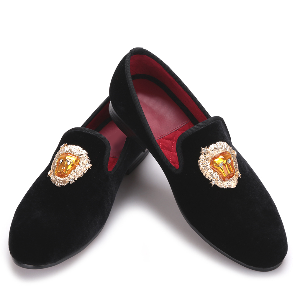 Lions Buckle Men Velvet Shoes Wedding Loafers Smoking Slippers Men'Flats mens dress shoes new black embroidery loafers men luxury velvet smoking slippers british mens casual boat shoes slip on flat shoes espadrilles