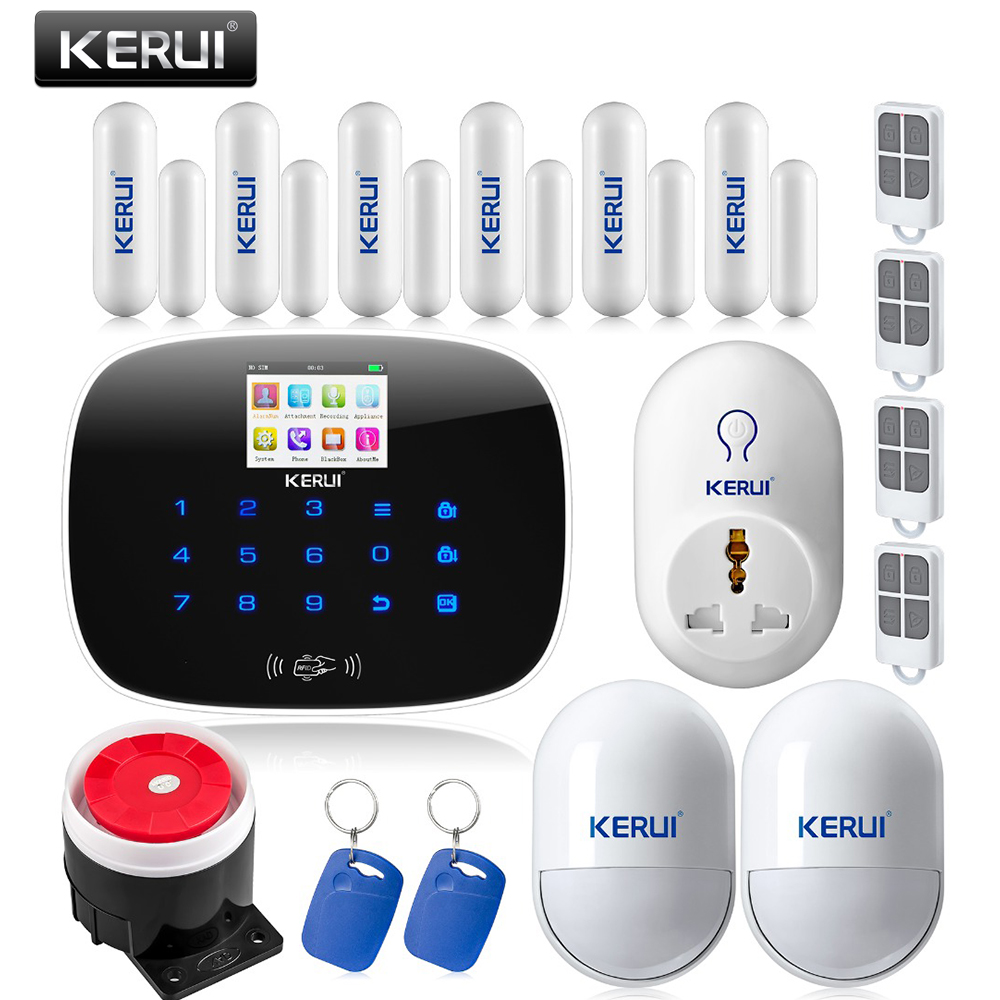 Original KERUI G19 TFT color Screen Wireless GSM Home Alarm System SIM Card Phone call sms Alarm Security Smart Socket 2 receivers 60 buzzers wireless restaurant buzzer caller table call calling button waiter pager system