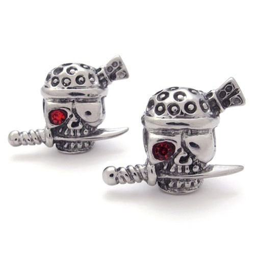 Stainless Steel Skull Personality Stud Earring Jewelry with Red Eye, Cool PUNK Style Men Earring Free Shipping