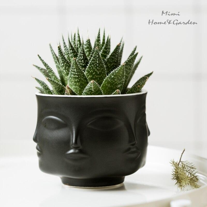 AliExpress & US $10.27 15% OFF Face Shape Designs Ceramic Vase Porcelain Flower Pot Home Decoration Accessories Planters Golden Black White Tools-in Flower Pots \u0026 ...