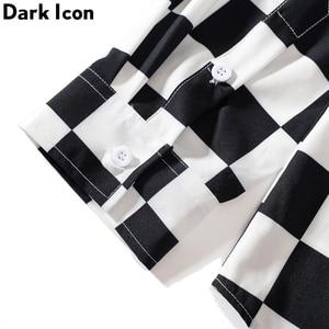 Image 4 - Dark Icon Interesting Print Plaid Men's Shirts 2019 Autumn Oversize Long Sleeved Checkered Shirts Streetwear Hipster Shirts