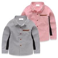 2016 Spring Baby Child Long-Sleeve Leather Pocket Stripe Shirt Blouse