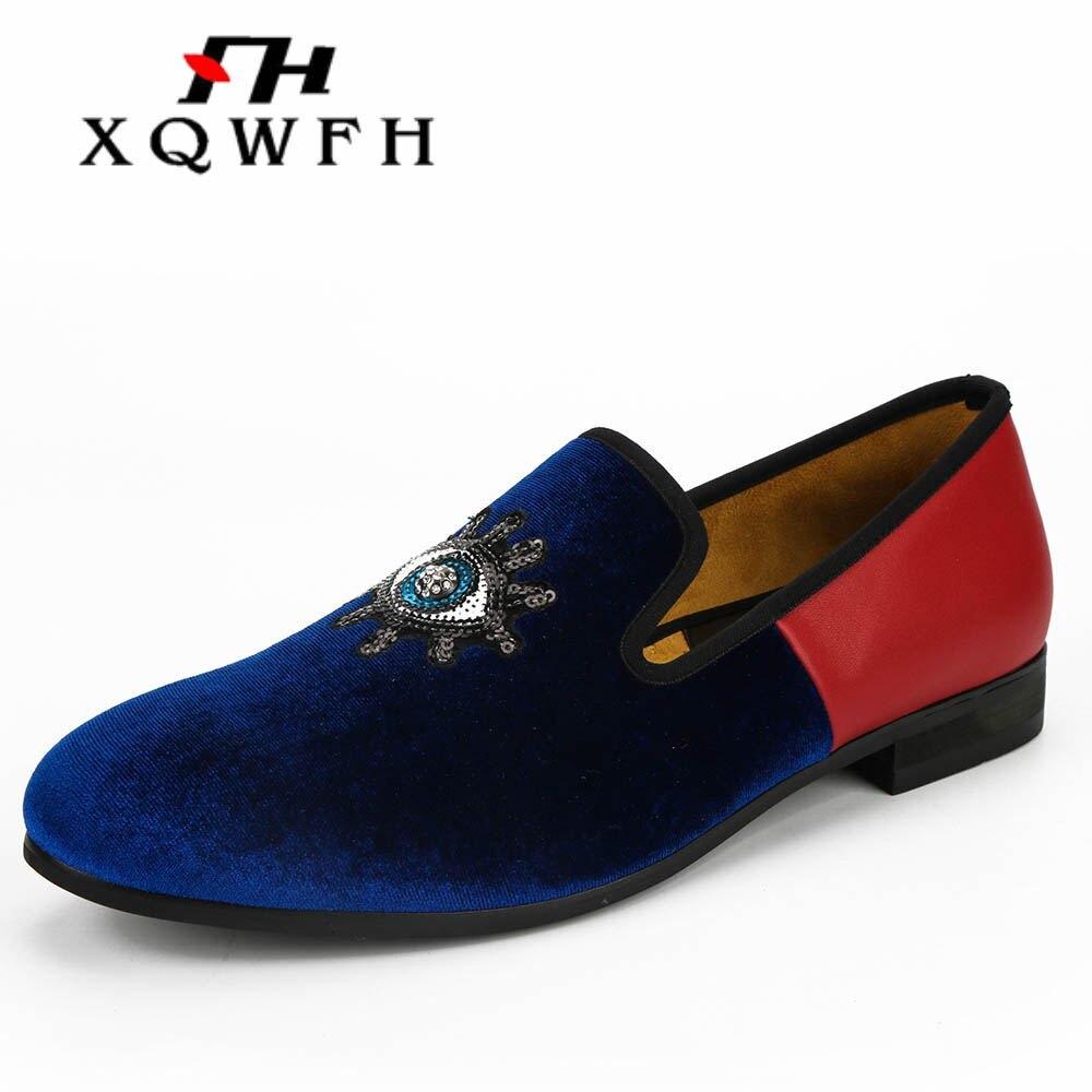 Bleu velours et cuir rouge correspondant hommes mocassins à la main sans lacet hommes broderie robe chaussures confortables hommes fumeurs chaussures