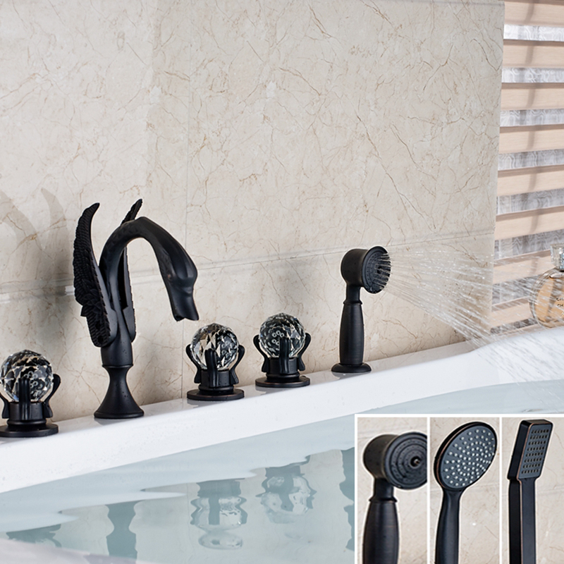 Luxury Oil Rubbed Bronze Swan Faucet Tub Mixer Tap W/ Hand Shower Sprayer Mixer