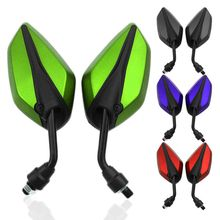 1Pair Universal Motorcycle Scooter Rearview Side Mirrors 22MM Handlebar Black/Blue/Green/Red For Honda Suzuki