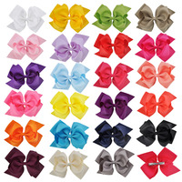 20PCS 6Inch Double layer Hairpins Boutique Girls Ribbon Bow Hair Clips Fashion Solid Color Headwear Sweet Kids Hair Accessories