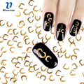 3D Nail Art Decoration Japanese Style Gold Moon 3*5mm Design Charms Nails Accessories PJ447